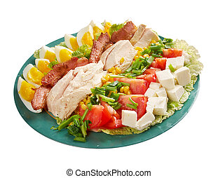 Cobb Salad - Colorful hearty entree sized salad with bacon,...