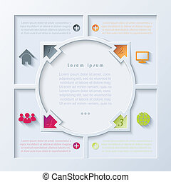 Abstract infographic design with circle and arrows can be...