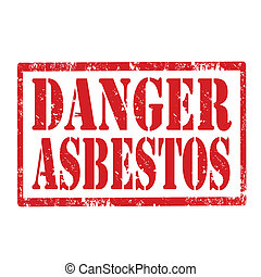 Danger Asbestos-stamp - Grunge rubber stamp with text Danger...