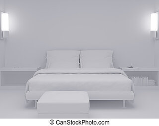 White bedroom set seven - High resolution image interior 3d...