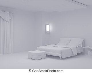 White bedroom set six - High resolution image interior 3d...