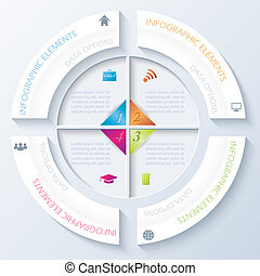 Abstract infographic design with circle and four segments.
