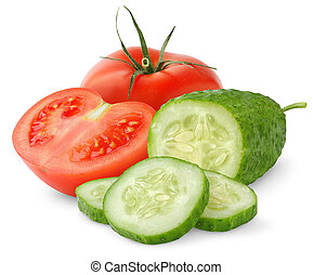 Tomatoes and cucumber isolated on white