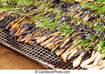 grilled calsot   - grilled calsot during Cal?otada in Valls