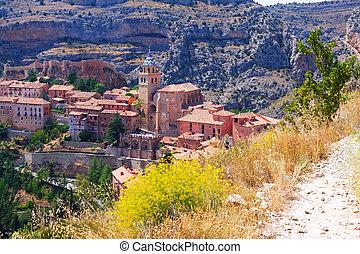spanish mountains town in summer. Albarracin