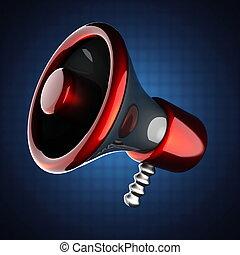 metallic cartoon megaphone
