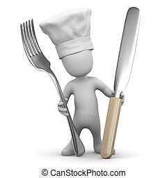 3d Little chef with knife and fork - 3d render of a little...