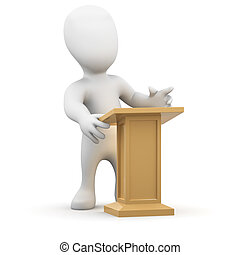 3d Little person at the lectern - 3d render of little person...