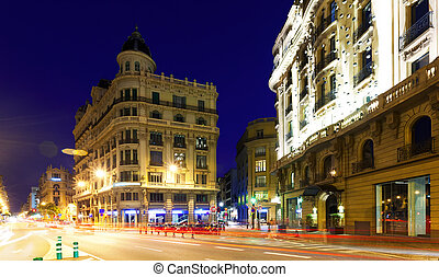 Night view of Via Laietana. Barcelona - Night view of Via...