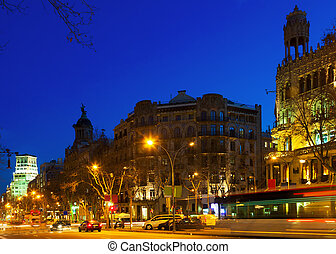 Night view of Passeig de Gracia in Barcelona - Night view of...