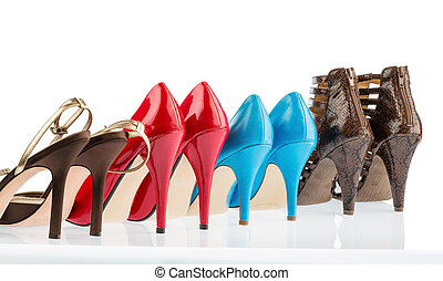 high-heeled shoes - different colored shoes with hiohen...