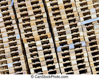 stacked pallets, symbol photo for freight transport and...