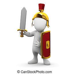 3d Little Roman person - 3d render of a little man dressed...
