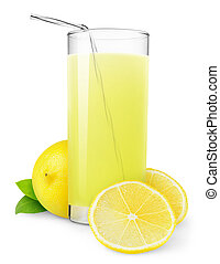 Lemonade - Glass of lemonade isolated on white