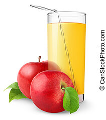 Apple juice - Glass of apple juice isolated on white