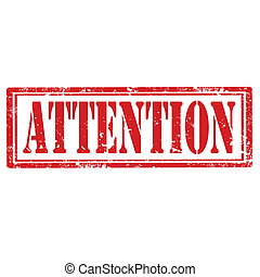 Attention-stamp - Grunge rubber stamp with text...