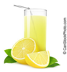 Lemonade - Glass of lemonade or lemon juice isolated on...