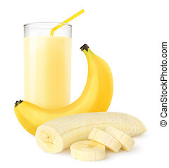 Banana shake - Fresh banana shake isolated on white