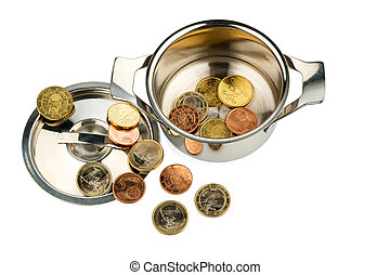 pot with coins - a cooking pot with a few euro coins photo...