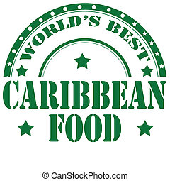 Caribbean Food-stamp - Rubber stamp with text Caribbean...
