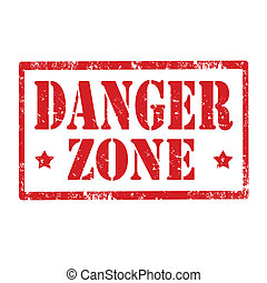Danger Zone-stamp - Grunge rubber stamp with text Danger...