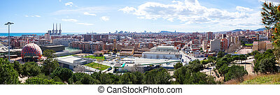 Badalona and Sant Adria de Besos from high point - Panoramic...