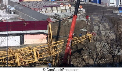 Work on the construction site. installation crane