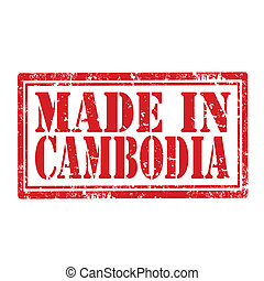 Made In Cambodia-stamp - Grunge rubber stamp with text Made...