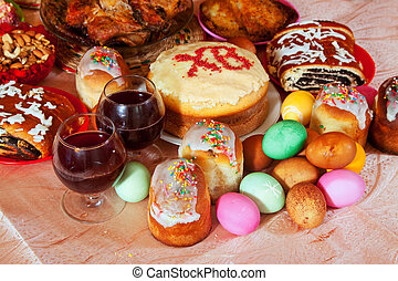 Easter meal - Easter cakes and other meal on festive table