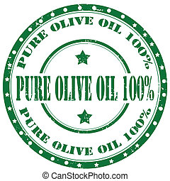Pure Olive Oil-stamp - Grunge rubber stamp with text Pure...