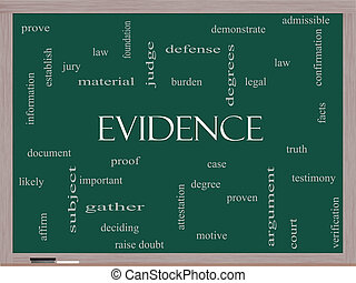 Evidence Word Cloud Concept on a Blackboard with great terms...