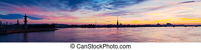 Neva river in dawn Saint Petersburg, Russia - Panoramic view...