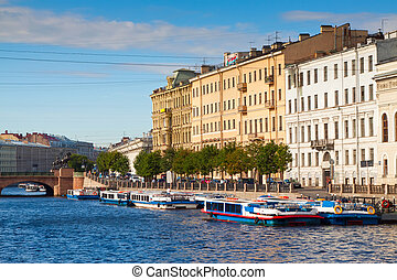 View of St Petersburg Fontanka River in sunny summer day