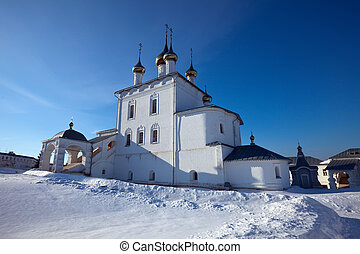 St. Nicholas monastery at Gorokhovets in winter. Russia -...