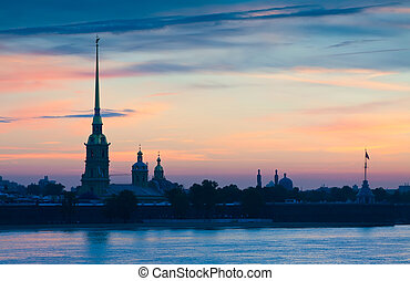 Peter and Paul Fortress in summer dawn - View of St....