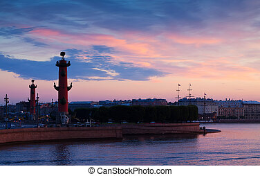View of St. Petersburg in summer dawn - View of St....