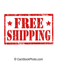 Free Shipping-stamp - Grunge rubber stamp with text Free...