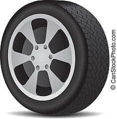 Auto wheel isolated on white. Vector illustration