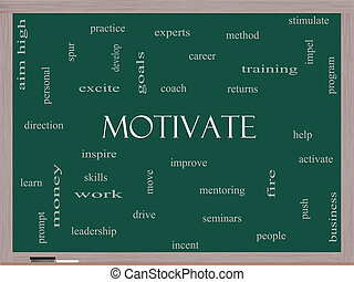 Motivate Word Cloud Concept on a Blackboard with great terms...