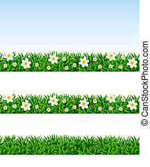 Seamless borders with a grass and camomiles