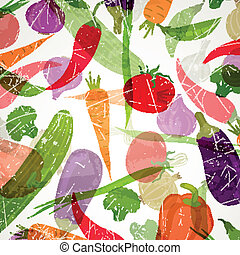 Vector Background with Vegetables - Vector Illustration of...