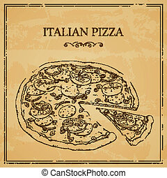 Vector Italian Pizza Poster - Vector Illustration of an...
