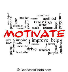 Motivate Word Cloud Concept in red caps