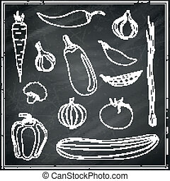Vector Abstract Vegetables on a Black Chalkboard - Vector...