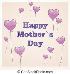 Vector Mother's Day Greeting Card - Vector Illustration of a...