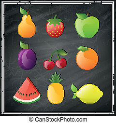 Vector Glossy Fruits on a Black Chalkboard
