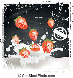 Vector Strawberries falling into a Splash of Milk