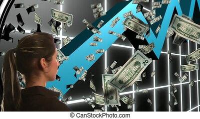 handlowy, kobieta, patrząc, krypta