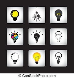 vector icons set of different idea light bulbs on black...