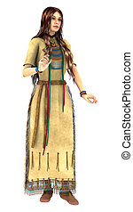 Native American Young Woman - 3D digital render of a...